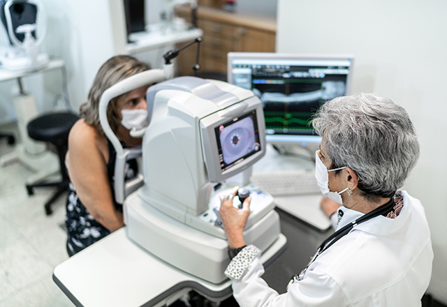 eye doctor and patient