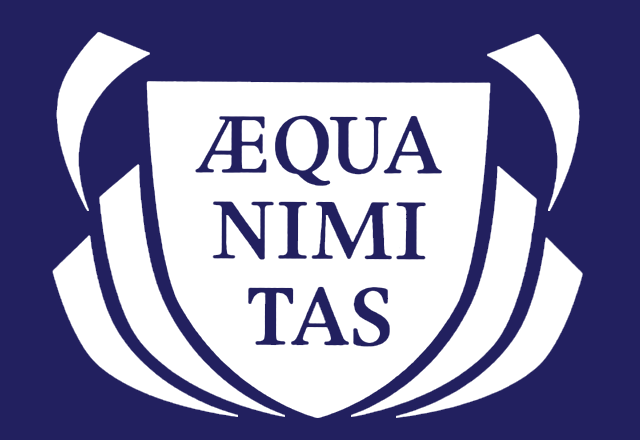 Seal featuring Latin slogan Aequanimitas.