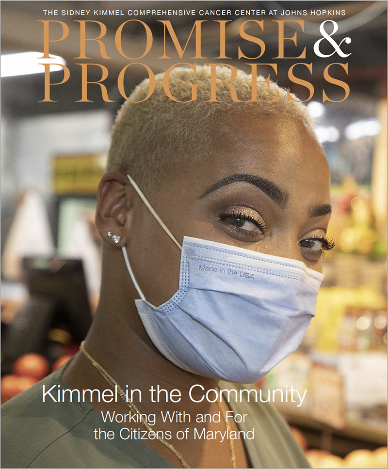 promise & progress-kimmel in the community publication cover with african american woman in mask.