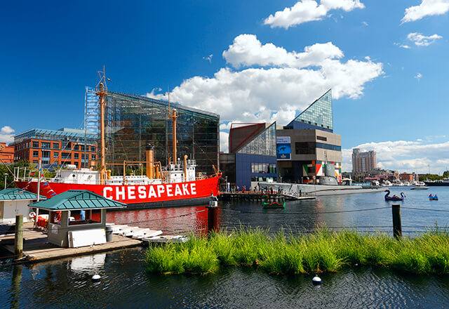 A view of Baltimore's inner harbor.