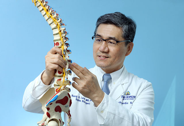 a doctor shows a patient a spine model