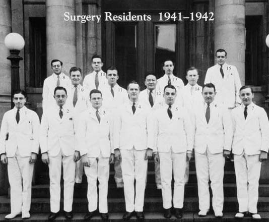 Black and white photo of surgery residents from 1942