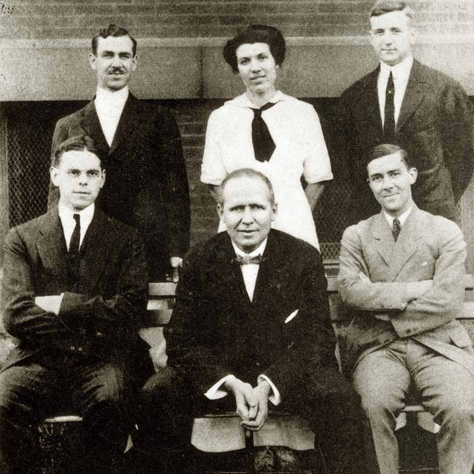 Black and white photograph of six Johns Hopkins physicians