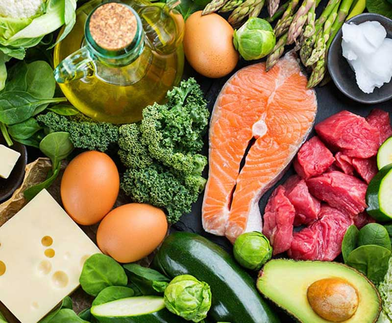 Keto diet foods, including salmon, eggs, cheese, avocado, nuts and cheese.