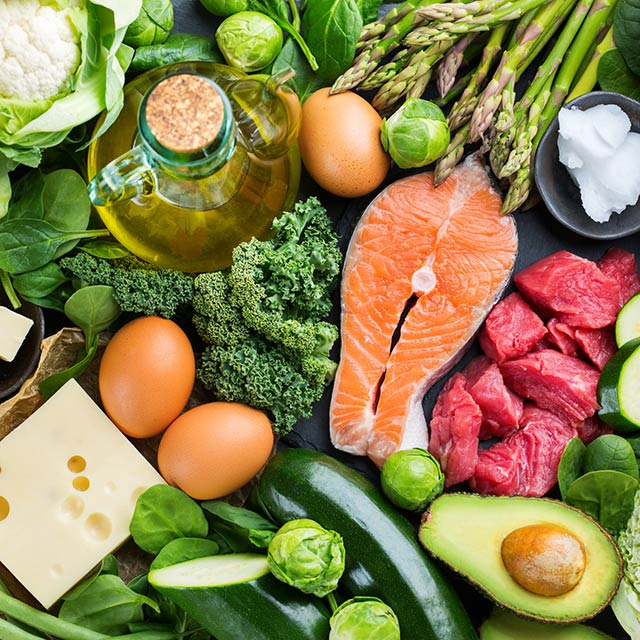 A platter of keto foods, including salmon, eggs, cheeses, beef, avocado, oil and almonds