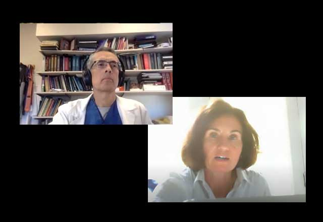 Drs. Pardo and Ziai on a Zoom call