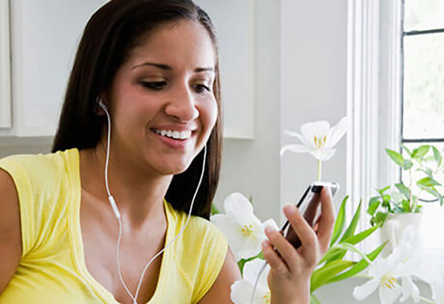 woman listening to audio