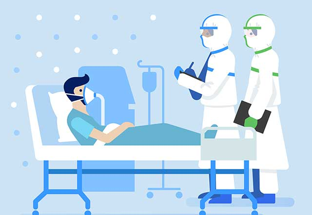 An illustrations shows a patient in the ICU.
