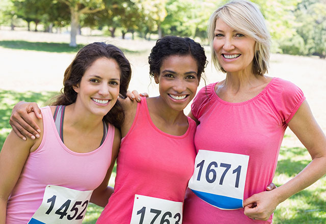 a group of women at a running event
