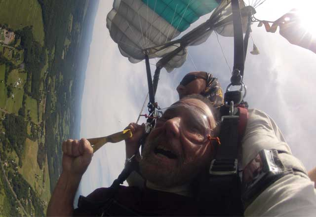 Johns Hopkins patient, Steve, skydiving