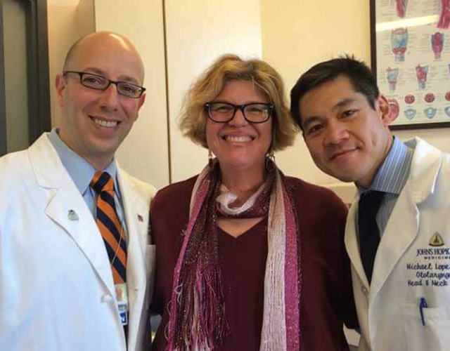 Roberta Perry with Dr. Lopez and Dr. Tufano
