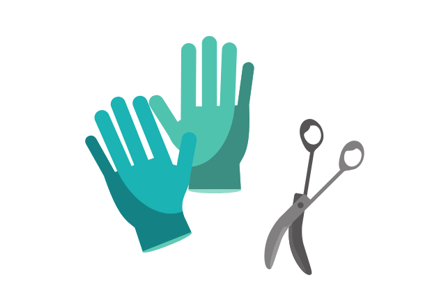 surgical gloves and scissors icon