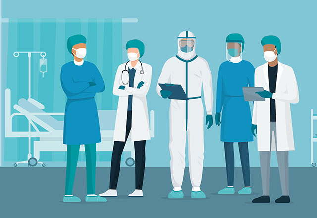 illustration of doctors in PPE