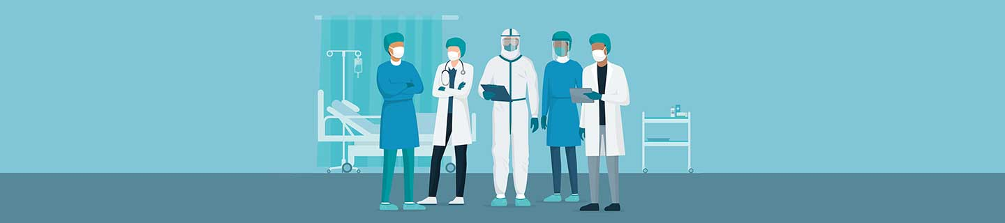 Illustration of doctors in PPE.