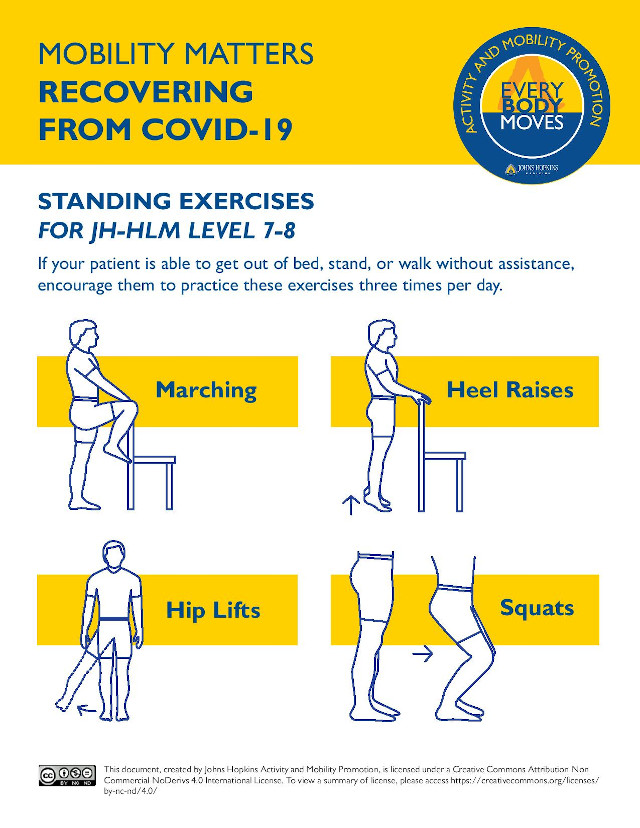 graphic describing exercises patients can do while standing