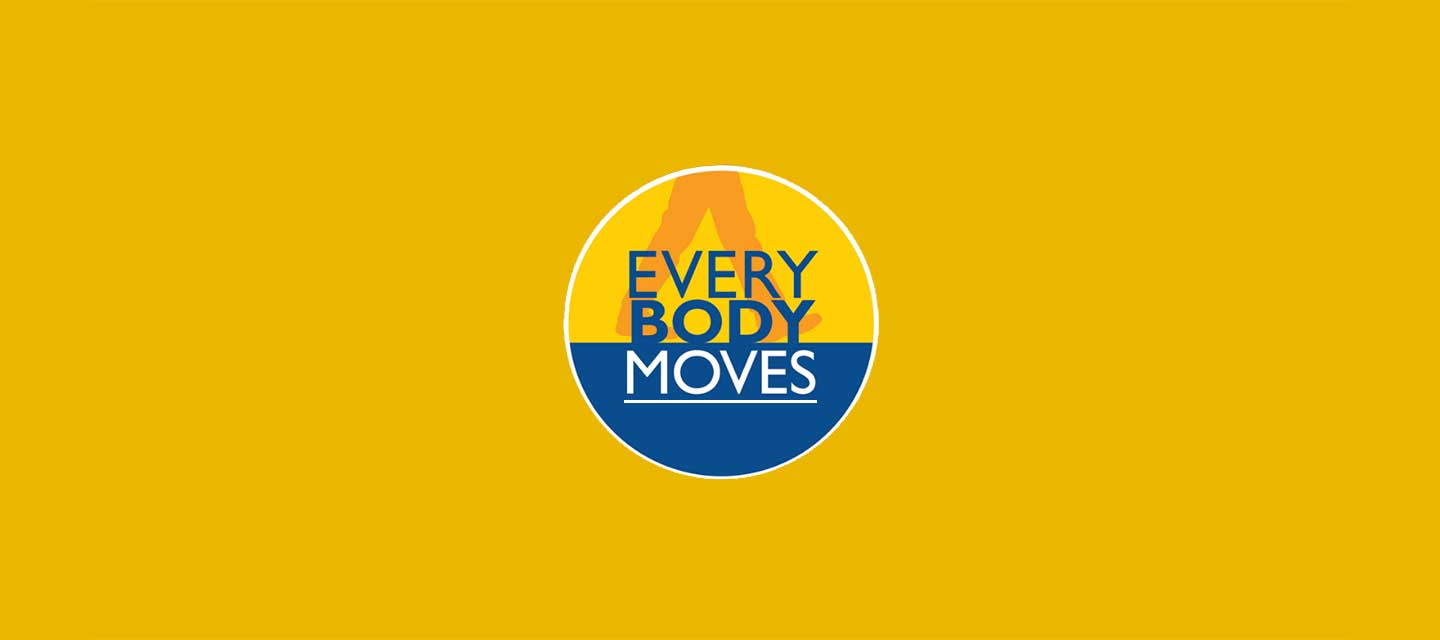 Yellow background with the everybodyMOVES logo in the center