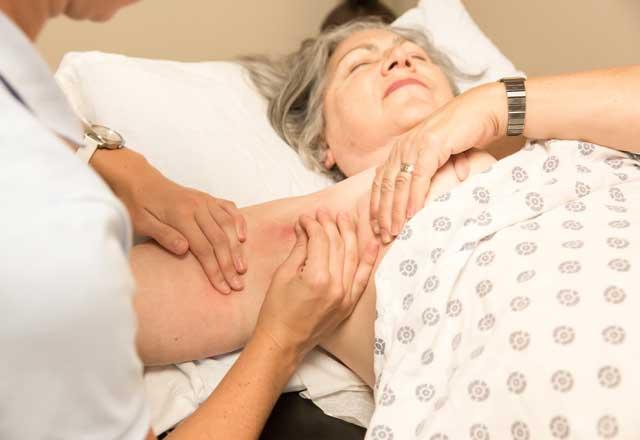 A patient receives MLD.