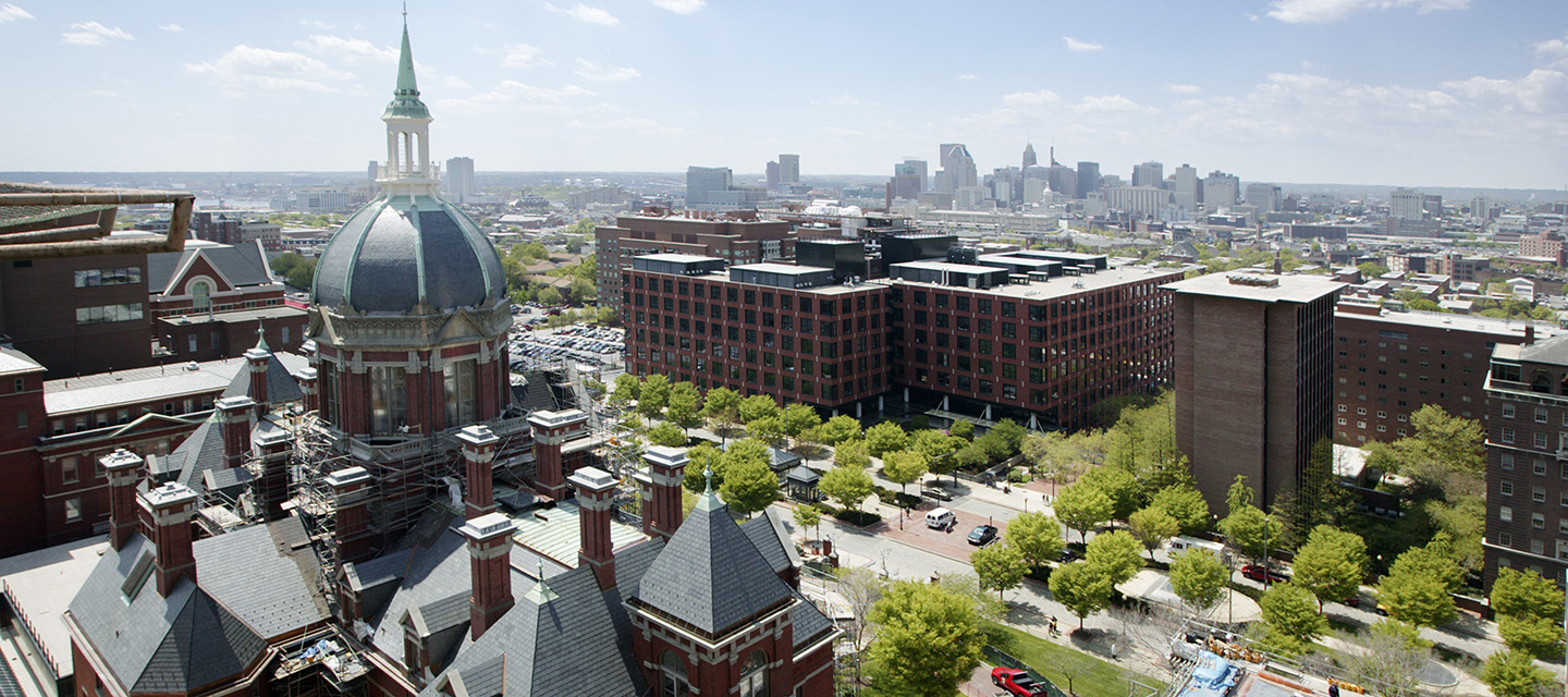 An aerial view of the Johns Hopkins Hospital in East Baltimore.