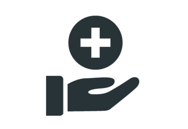 icon of hand holding medical symbol