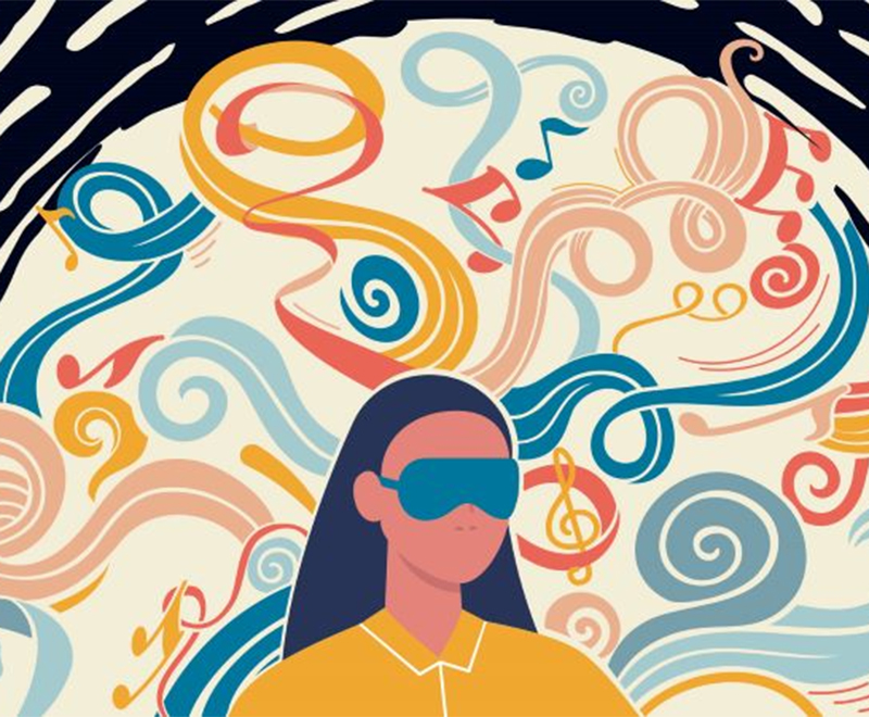 An illustration of a woman wearing a blindfold, surrounded by abstract colors.