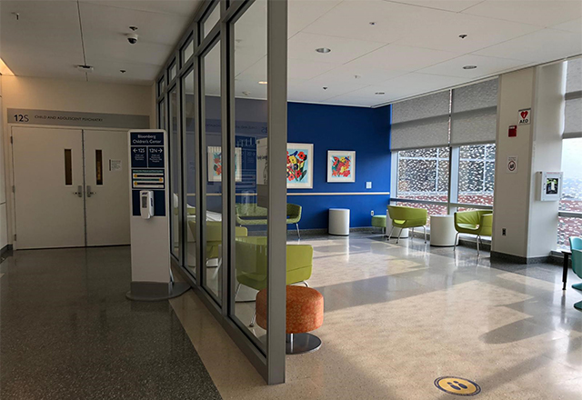 Johns Hopkins Bloomberg Children's Center 12th floor inpatient unit entrance and waiting area