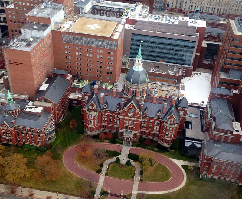 Aerial view of Hopkins East Baltimore Campus