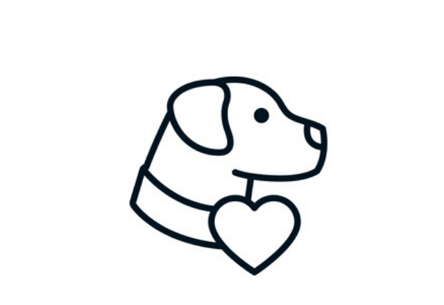 outline of a dog with a heart