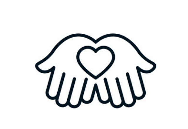 hands holding a heart icon