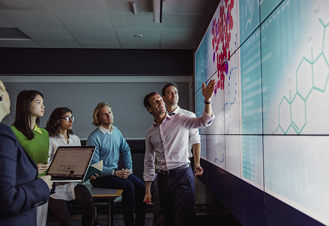 a group looks at data on a large screen