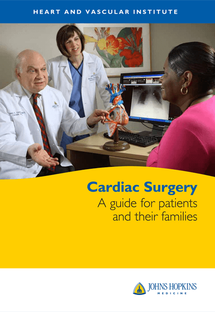 Heart and Vascular Institute: Cardiac Surgery, A guide for patients and their families