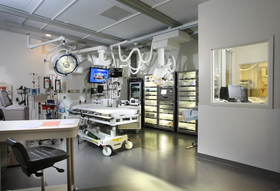 New trauma rooms were designed to provide ample space for trauma surgeons and emergency teams to work together.