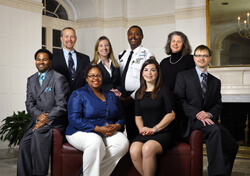 The 2012 recipients of the Martin Luther King Jr. Community Service Awards will be honored during the commemoration, which will be held on Friday, Jan. 11, at noon in Turner Auditorium. They are (front): Eric Holmes, Amber Jefferson, Abby Ferretti, Scott