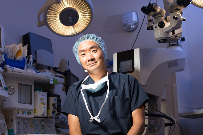 Albert Jun in an operating room of the Maurice Bendann Surgical Pavilion.