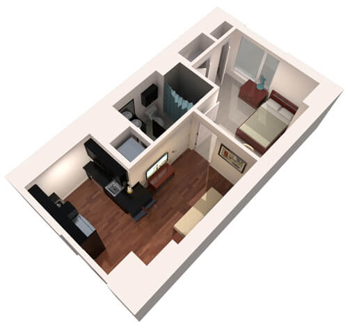 illustration of a sample floor plan for one bedroom housing
