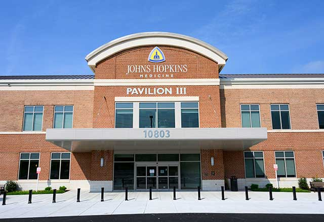 the exterior campus of Johns Hopkins Medicine Green Spring Station