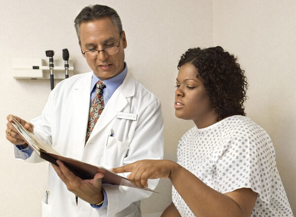 A doctor discussing care with a patient