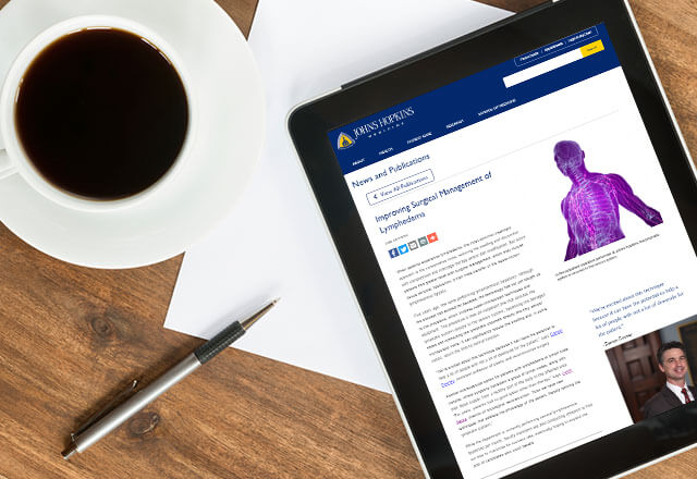 tablet showing an article on lymphedema surgery
