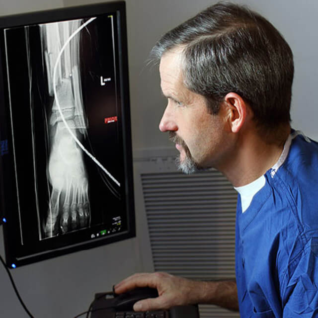 Dr. James Ficke looking at a foot x-ray