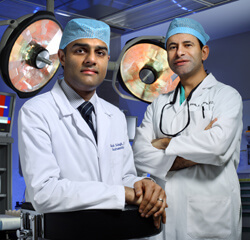 Vikesh Singh (left) and Martin Makary run Hopkins' new islet autotransplant program, which ultimately allows patients to produce insulin in their livers.