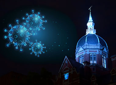 Composite photo of Glowing blue covid germs floating over the Billings building
