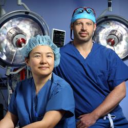 Neurosurgeon Judy Huang and craniofacial plastic surgeon Chad Gordon