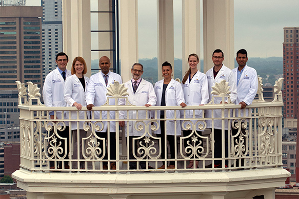 Physicians standing on balcony