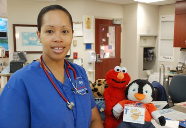 Nurse with stuffed animals