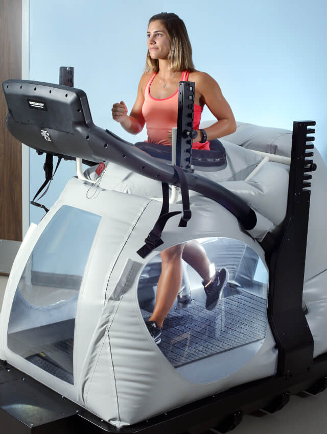 A woman in an anti-gravity treadmill