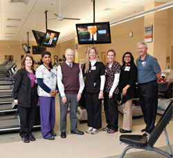 Bernard Farrell, third from left, with members of the pulmonary rehab team.
