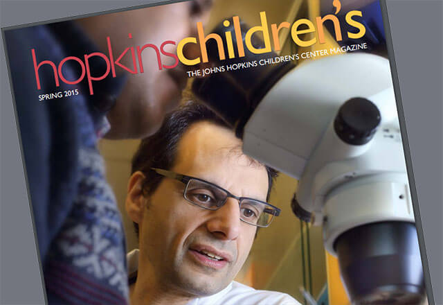 hopkinschildren's magazine cover with doctor Hackam