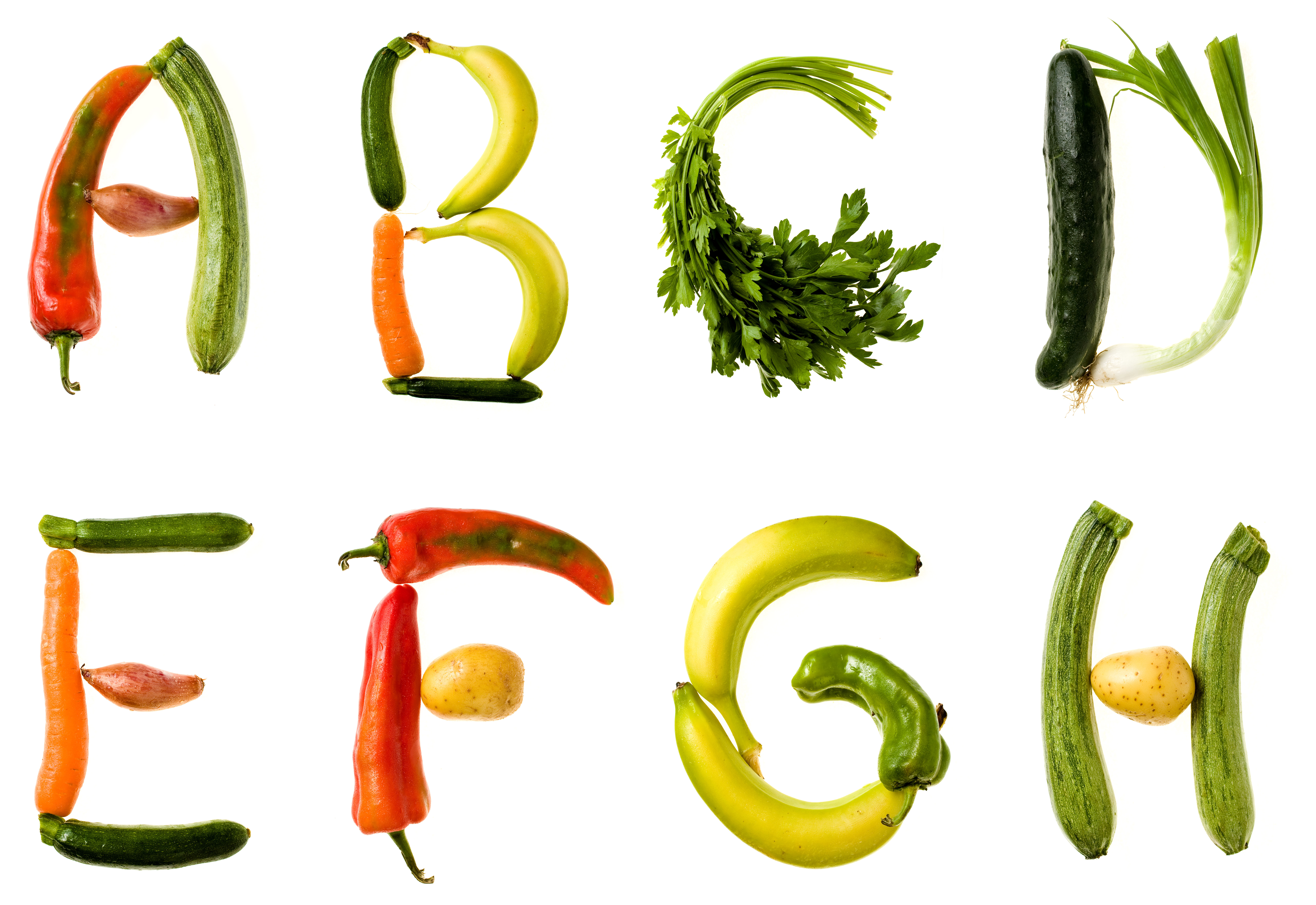 alphabet letters spelled out using food