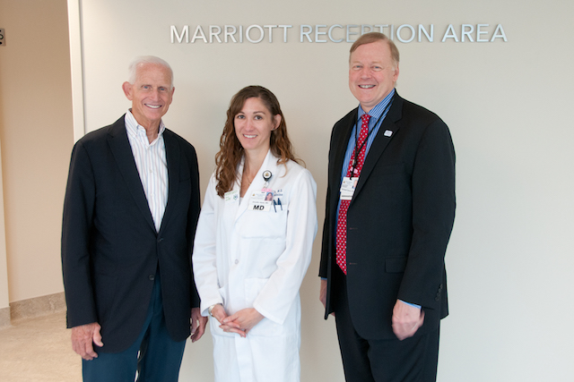 Richard Marriott with Sibley's Chair of the Emergency Department , Dr. Jennifer Abele, and President Chip Davis