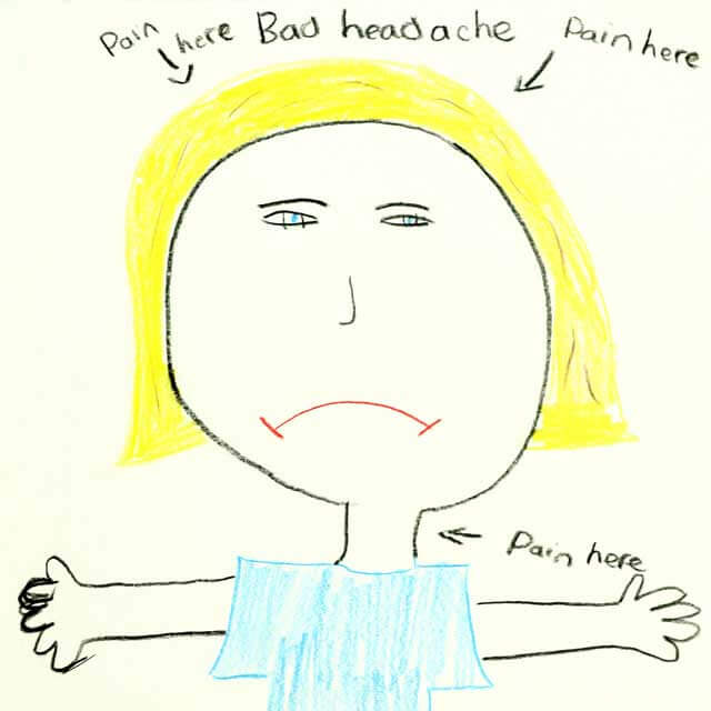 child's illustration of headache
