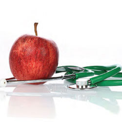 Red apple and stethoscope